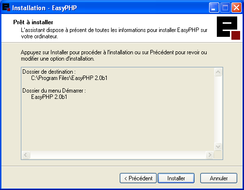 easyphp pour windows xp